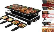 Raclette Grill Electric Grill Table, Portable 2 In 1 Korean Bbq Grill Black
