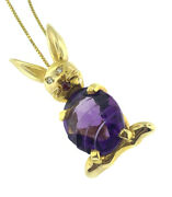 Vintage Amethyst Diamond And Ruby Bunny Rabbit Pendant Necklace 14k Yellow Gold
