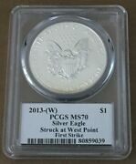 2013 W Pcgs Ms 70 Silver Eagle Struck West Point First Strike Mercanti Flag