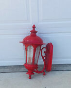 Huge Red Outdoor Wall Lantern Sconce Large English British Look Doctor Who Style