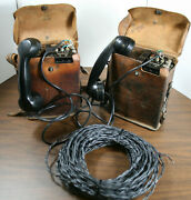 2 Army Field Phones Ee-8-b Us Signal Corps,1943 Wwii.used Refurbished, Tested