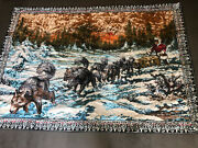 Wall Tapestry Large Dog Sled 48 X 69 Winter Sunrise Picture Vintage