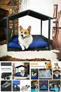 Wicker Dog Hose Bed With Cushion Outdoor Indoor Small Pet Roof Shade Cat Sofa
