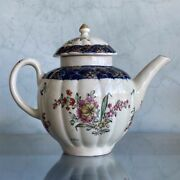 Liverpool Fluted Teapot, Christian And Co, Cracked Ice And Flowers, C. 1770 Copy