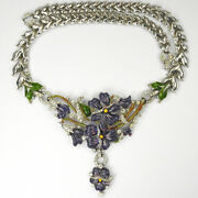 Trifari Philippe Pave And Enamel Purple Pansy Floral Spray Pendant Necklace