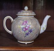 Worcester Teapot With Gilt Stripes And Flowers, C.1770 And Later