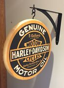 Harley Davidson Genuine Motor Oil 12 Inch Double Sided Pub Sign