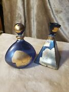 Two Italian Lead Crystal Perfume Bottles Made By Illusions- Each 5.25