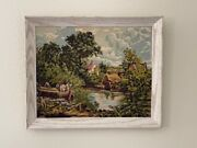Vintage 1960's Paint By Number Framed Painting Boat On Pond Home Scene