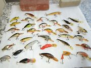 Vintage Fishing Lure Lot Of 33 Beautiful Colors Some Wooden Rare