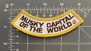 Vintage Musky Capital Of The World Patch Fishing Boulder Junction Wisconsin Wi