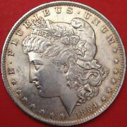 1884-o Morgan Silver Dollar - Very Nice Lightly Golden Toned And Lustrous Bu/ Ms++