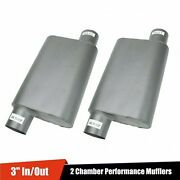 3 Inlet/outlet 2 Pcs Offset Aluminized 2 Chamber Performance Mufflers Silencer