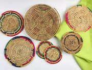 7 Vintge Native American Style Coiled Straw Flat Round Bowltrivet Wall Coasters