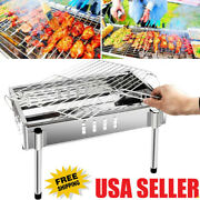 Camping Barbecue Charcoal Grill Portable Outdoor Folding Bbq Kabob Stove Us B9h5