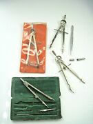 Assorted Vintage Drafting Tools Compass Lot Dietzgen, Martin, Italy And Germany