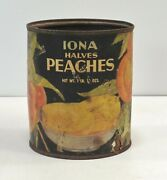1934 Iona Halves Peaches Vintage Tin Can With Paper Label