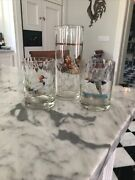 Vintage W. V. Glass Co. Martini Pitcher And 2 Rocks Glass Gamebirds-- By Ned Smith