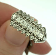 Vintage 1.10ctw Princess And Round Cut Diamond Square Top Ring 14k White Gold 7.5