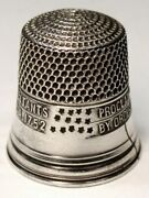 """Antique Simons Bros. Sterling Silver Thimble """"liberty Bell 13 Stars"""" C1926"""