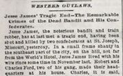 Jesse James Killed By Ford Brothers - Real Newspaper April 4, 1882 Great Display
