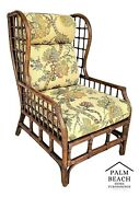 Vintage Mid Century Modern Wingback Bamboo Bentwood Rattan Lounge Chair
