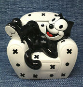 Felix The Cat Cookie Jar Sitting Laying On Sofa Clay Art Vintage Large