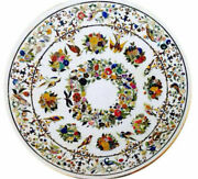 4and039 White Marble Table Top Inlay Pietra Dura Handmade Dining Home Decor Antique