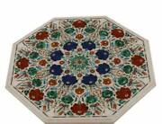 24 White Marble Table Top Inlay Pietra Dura Antique Dining Coffee Decor Side
