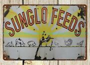 Sunglo Feed Metal Tin Sign Plaque Metal Garage Signs