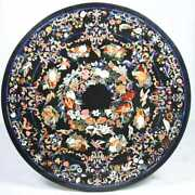 4and039 Black Marble Table Top Inlay Pietra Dura Handmade Dining Home Decor Antique