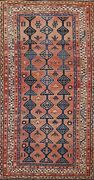 Antique Geometric Traditional All-over Oriental Runner Rug Wool Hand-knotted 4x9