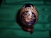 Faberge Russian Egg Cobal Blue Crystal Glass Cut Floral Gilding With Label