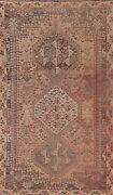Antique Geometric Traditional Oriental Area Rug Hand-knotted Wool 4x7 Ft Carpet