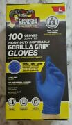 100 Grease Monkey Gorllla Grip Heavy Duty Traction Nitrile Gloves, Size Large