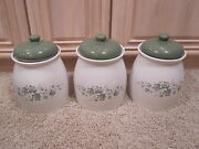 3 Vinage Corelle White And Green Ivy Kitchen Ceramic Cookie Jars Storage Canisters