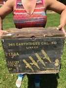 Vintage Wwii Us Navy Ammo Can Wood Box Crate 50 Cal Linked Flaming Bomb