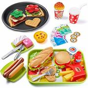Geyiie Play Food Toys 55pcs Fast Food For Kids Kitchen Toy Foods With Hamburg...