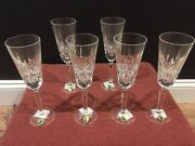 6 New Waterford Lismore 8 3/4 In. Tall Flute Lead Crystal Champagne Glasses