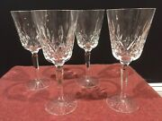 4 Waterford Lismore 8 3/8 In. Tall Lead Crystal Wine Glasses