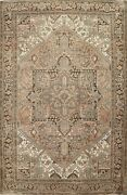 Semi-antique Geometric Oriental Traditional Area Rug Hand-knotted Wool 8x11 Ft