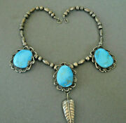 Native American Navajo 3-stone Turquoise Sterling Silver Leaf Necklace Choker