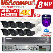 Hikvision Security System 8 Ch Kit 5mp Motorized Zoom Ds-7208huhi-k1 /hdd Purpl