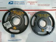 Set Of 2- 5lb Cap Gold Gym 2 Olympic Grip Barbell Weight Plates 10lb Total