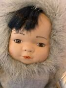 Little Snowflake Porcelain Eskimo Inuit Doll 1995 Ftd Collectible Cloth Body