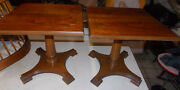 Pair Of Pecan Mid Century Pier End Tables / Side Tables Mersman