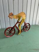 Vintage 1900s A.c. Gilbert Bicycle Toy Biker Antique Motorcycle Skip Tooth Litho