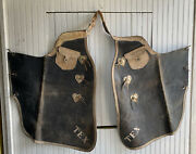 Antique Tex Cowboy Rodeo Western Leather Chaps Nickel Hearts Country Farmhouse