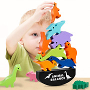 Hahagift Toddler Toys For 2 3 4 5 6 Year Old Boys Gifts, Wooden Stacking Dinosau