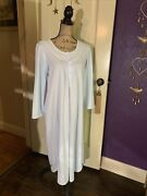 Eileen West Embroidered Soft Blue Long Flannel Nightgown Lace Trim M 40andrdquo 46andrdquo